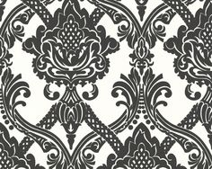 Barok Behang Wit, Zwart 5549-49