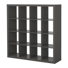 EXPEDIT Shelving unit IKEA The high gloss surfaces reflect light and give a vibrant look.   Another great and inexpensive piece to store supplies.