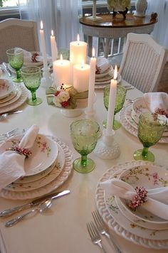 green stemware is a nice touch highlights the table beautiful table