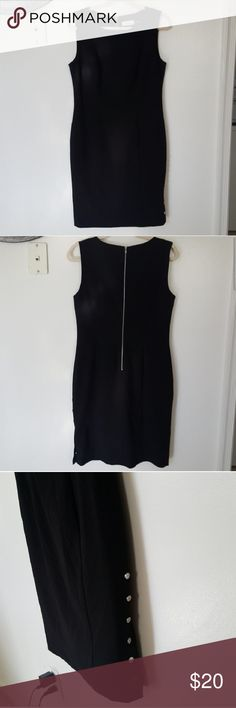 20 Dollar Clavin Klein Dress This Calvin Klein Dress is the typical business material . There are buttons that unclipp and clips at the bottom of the dress. There are no stains and is hand washed and air dried. There is room for bargaining for this dress Calvin Klein Dresses