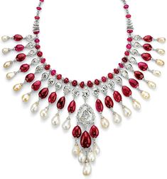 For this necklace, jeweler Viren Bhagat spent 10 years collecting 24 Burmese cabochon rubies.