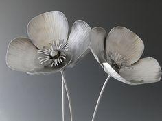 Poppy Flowers Metal Sculpture by NatureofSteel on Etsy, $190.00
