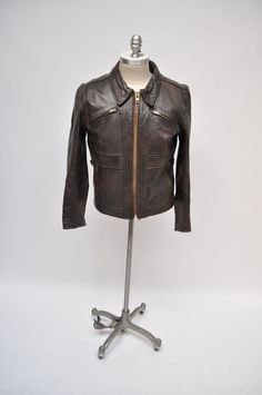 vintage leather jacket steinmark cafe racer 1970s by goodbyeheart