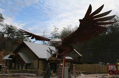 Beautiful new sculpture for the new Wild Eagle at Dollywood.