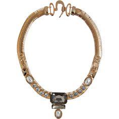 Fallon Gold & Emerald Ines Mesh Necklace