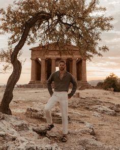 Marco Pauletto in his ARISTOTELI BITSIANI khaki linen henley shirt while in Valle dei tempi Argigento,