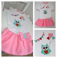 Eule Applikation mit Wimpelkette und Luftballons Geburtstagskleid ♥ owl application party dress