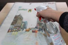 splashing with water Watercolors, make a rainy day