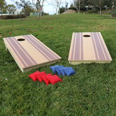 These are premium Cornhole Boards with a cool wood grain striped design. These official sized x boards come with digitally printed wood grain inlayed finish. Just maybe the best made Cornhole boards in the USA. Make Cornhole Boards, Giant Chess, Fun Outdoor Games, Outdoor Ideas, Picnic Blanket, Outdoor Blanket, Toss Game, Lawn Games, Baltic Birch Plywood