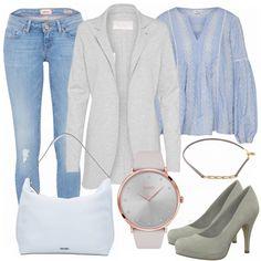 Schöner, schlichter Freizeitlook aus heller Jeans, grauen Coatigan und blauer Bluse.... #fashion #fashionista #inspiration #mode #kleidung #bekleidung #damen #frauen #damenkleidung #frühling #frühjahr #frauenoutfits #damenoutfits #outfit