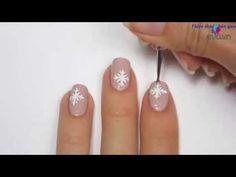 nail art designs , Drawing snowflake nail extremely easy to pick Noel
