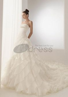 Abito da Sposa-Scollo a V Cattedrale di treno Taffetà abiti da sposa 2013