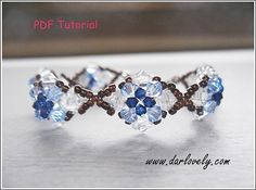 Blue Bronze Flower Bracelet