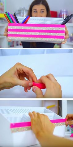 Shoebox Desk Organizer | Click Pic for 20 Cool DIY Projects for Teen Girls Bedrooms | Easy Crafts for Teen Girls to Make