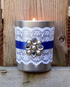 Wedding Votive Candle Holder / Winter by CarolesWeddingWhimsy, set of 6, Metallic Silver and Blue Lace Votive Candle Holder with Rhinestone and Pearl Charm - Winter  Votive Candle Holder - Hanukkah Decoration - Christmas Decoration - You can find it here https://www.etsy.com/listing/204926618/wedding-votive-candle-holder-winter