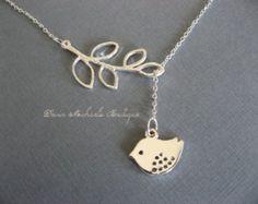 Lariat Halskette Vogel Halskette, Branch Halskette, Vogel und Zweig Kette, Silver Bird Necklace