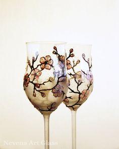 Wine Glasses Wedding Glasses Hand Painted Sakura by NevenaArtGlass, $56.90