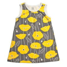 Winter Water Factory Baby Tank Dress (Poppies Grey and Yellow) @ http://www.realbabyinc.com