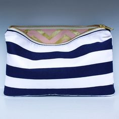 Navy Stripe Large Clutch with Blush and Gold by LoveofPattern