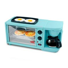 Americana by Elite 3 in 1 Extra Large Breakfast Center - Coffee, Toaster Oven, Griddle Blue Teen Girl Bedroom, Teen Girl Bedrooms, Elite 3, Breakfast Station, Small Room Decor, Camping Coffee, Camper Renovation, How To Cook Eggs, Small Appliances