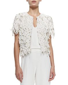 Brunello Cucinelli Short-Sleeve Silk Fringe Jacket Spring 2015