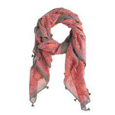 gray & coral scarf (drool)