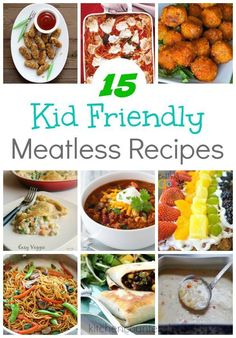 15 Kid Friendly Meatless Recipes - What's for dinner tonight? Plan out 2 weeks of dinner ideas with this collection of meatless recipes that kids will love. A delicious collection of simple meat-free meals that kids will love. Try them on Meatless Mondays or any day of the week. | Recipes for Kids | Kid-Friendly Recipes |