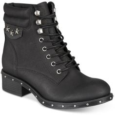 ZIGIny Joli Combat Boots ($50) ❤ liked on Polyvore featuring shoes, boots, black, studded combat boots, laced boots, military boots, black shoes and army boots