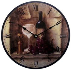 Wine Wall Clock 12 Inch Kitchen Home Decor Grapes Large Metal Hands Bar Time