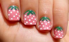Easy Nail Ideas for Short Nails strawberry nails