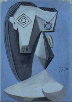 Pablo Picasso -Head (Tête), 1940 Oil on canvas Monet Paintings, Picasso Paintings, Landscape Paintings, Picasso Portraits, Pablo Picasso Drawings, Picasso Art, Acrylic Painting Lessons, Oil Painting Abstract, Painting Art