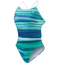 Nike Swim Horizon Cut Out Tank: The bright colors and flattering pattern of the Nike Swim® Horizon Cut Out Tank make it a great practice suit year-round. http://www.swimoutlet.com/product_p/34991.htm?color=31595