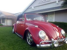 Joseph F Lopez's 1965 Ruby Red Beetle Cabriolet.  Member of Vertsonly Car Club Corona, CA, U.S.A.