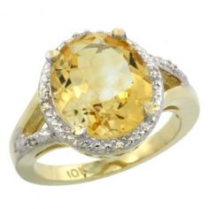 14K Yellow Gold Natural Citrine Ring Oval 12x10mm.  This beautiful ring is solid 14K Gold and made in the USA, with Genuine Diamonds, Natural Gemstones.
