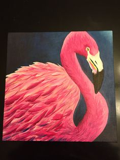 Acrylic painting of a flamingo I made for a friend as a gift.