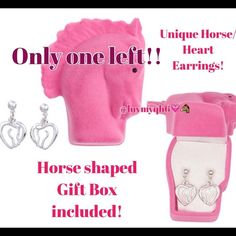 """LAST ONE Horse Head Silhouette Heart Earrings Horse/Heart Earrings with a Horse Shaped gift box included with purchase. Silver plated. The Horse/Heart Earrings measures 1/2"""" X 1/2"""" The Horse Gift Box measures 2 1/2""""x 2""""x 1 1/2"""" Matching necklace is available in another post in my closet!😊❤️🐴 Brand New! Only took out to take pictures. Jewelry Earrings"""