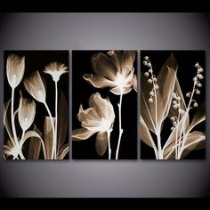 3 Panel Canvas Art Plants Flower in Dark Canvas Painting Wall Art Canvas Poster and Print Wall Picture for Living Room - combination wall canvas Wall Painting Frames, Wall Painting Living Room, Paintings For Living Room, Wall Prints, Canvas Art Prints, Canvas Wall Art, Canvas Paintings, 3 Panel Wall Art, Leaf Wall Art