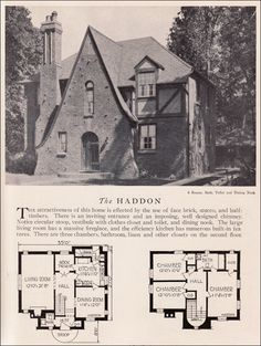 1929 Home Builders Catalog - Haddon House Plan - American Residential Architecture - Storybook Style