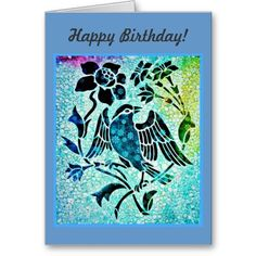 Bird Mosaic Birthday Card #birthday #vintage