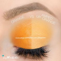 Amped Up Orange and Orange ShadowSense side by side comparison.  These long-lasting SeneGence eyeshadows help create envious eye looks.  #eyeshadow #shadowsense