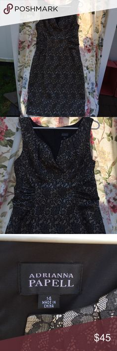 Adrianna Papell Black& Gold Dress 14 Adrianna Papell Beautiful summer dress in black and gold, size 14, sleeveless, zippered in the back, fully lined, gathered at the waist to accentuate your figure, open V-neck, slit in the back at the bottom. Adrianna Papell Dresses Midi