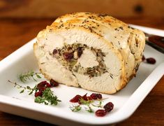 Recipe for slow cooker turkey breast stuffed with wild rice and cranberries (gluten-free) {The Perfect Pantry}