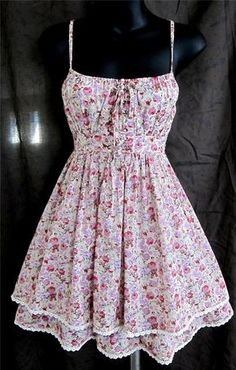 Cecico Modcloth floral dress sundress corset lace up tiered sexy lolita egl S in Clothing, Shoes & Accessories, Women's Clothing, Dresses | eBay