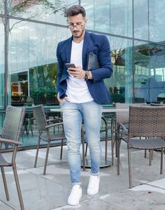 Pair White Tees with Light Blue Jeans & Navy Blazer