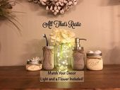 Rustic Mason Jar Bathroom Set Mason Jar with Lights Fairylights Lighted Mason Jars Mason Jar Bathroom Set Painted Mason Jars Rustic Mason Jar Planter, Mason Jar Vases, Mason Jar Flowers, Rustic Mason Jars, Mason Jar Lighting, Mason Jar Bathroom, Bathroom Sets, Quart Size Mason Jars, Rustic Bathroom Decor