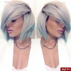 Pinterest : @itsmissydiana ♉ Instagram: @missy_Diana Cute short bob haircut hairstyle  Blonde ash green blue ombree Pretty girls