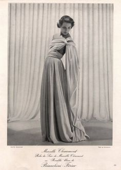 Marcelle Chaumont 1949 Photo Seeberger Fashion Photography Evening Gown