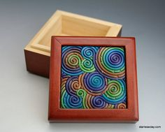 Mini Wooden Box in Peacock Fimo Filigree by StarlessClay on Etsy