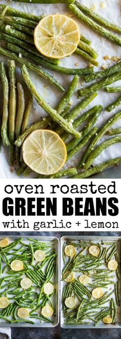 These Roasted Green Beans are flavored with lemon and garlic, then roasted to crisp-tender perfection! A fresh and easy side dish all year long. via @culinaryhill