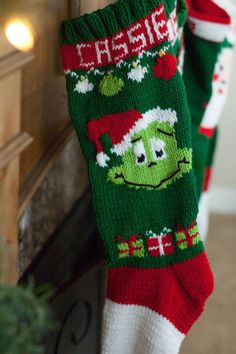 Knit Christmas stocking pattern Grinch by SweetlyMadeJustForU